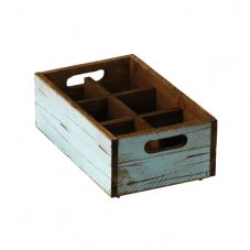 Stackable Turquoise Wooden Box - 6 compartments